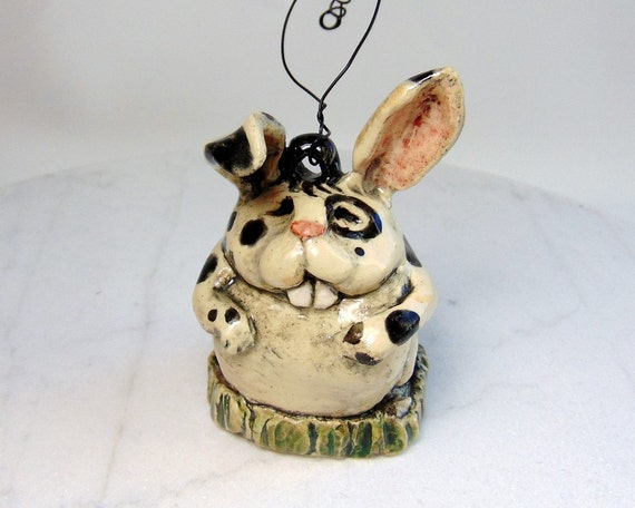 Spotted Rabbit Ornament Pottery Decoration Hand Built Pottery Bunny Ornament Pottery Animal Lop Eared Rabbit Small Pet Figurine