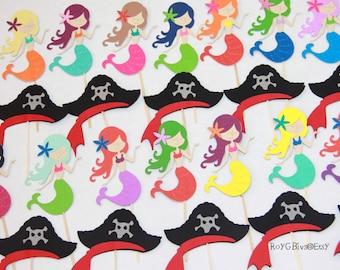 Pirates & Mermaids - Cupcake Toppers