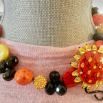 Unique artist designed necklace. Iris Apfel Inspired -Vintage Sunflower Brooch with Crystals- Kazuri Beads- One of a Kind
