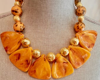 Artisan Necklace in Light Amber Lucite with Gold Tone and Leopard  Beads - Lightweight - Vintage Beads -Runway -unusual But Classic Design