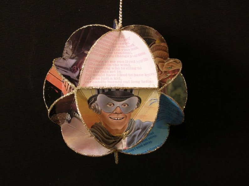 Elton John Christmas Ornament.Elton John Album Cover Ornament Made Of Repurposed Record Jackets