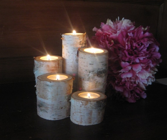Wedding Centerpieces With Candles: Items Similar To Birch Candle Holders Wedding Centerpieces