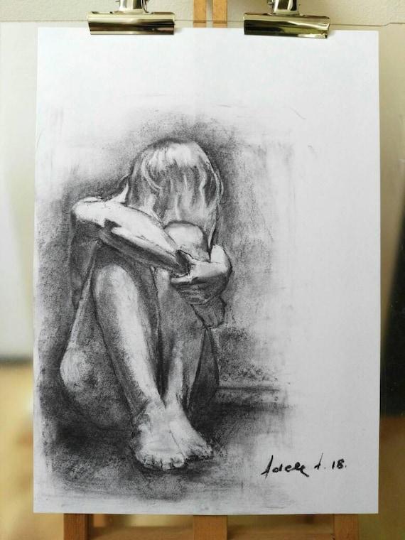Female nude. 6130 original charcoal artwork
