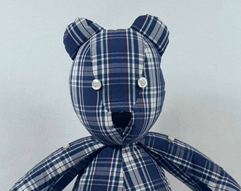 """Large 18"""" Memory Bear - Embroidery Available -  Made From Your Shirt- Keepsake Bear - Teddy Bear- Shipping both ways  included"""