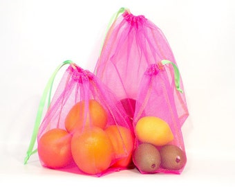 Reusable Produce Bag Set of 3 (1 ea:  S, M, L) - Choice of 4 Mesh Colors  - Lime Green Drawstring and Stitching- Zero Waste - rugged