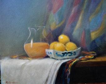 Vintage Still Life ORANGE Juice Pitcher LEMONS in Bowl Oil Painting ART c1980s