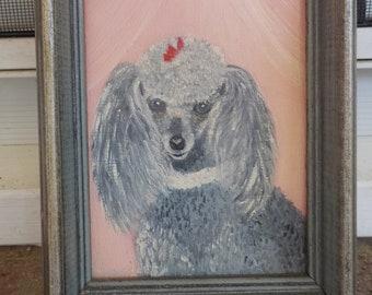 Poodle Art Print of an original oil painting,Road Rage,Dog Art,Mini Cooper,Standard Poodle,white