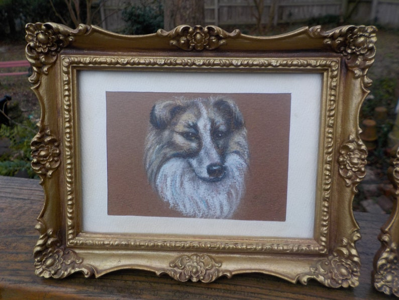 Vintage MINIATURE Small Mid-century DOG PASTEL Drawings Portraits Gold French Style Plastic Frames c1970s