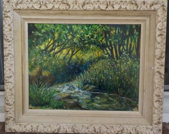 Vintage Midcentury Lush SUMMER COUNTRY CREEK Acrylic Painting Framed c1967