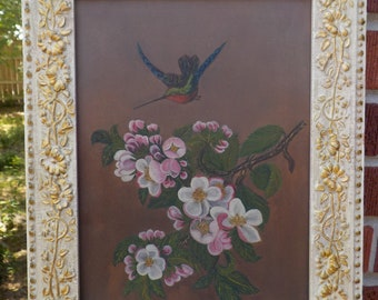 Antique VICTORIAN Rare HUMMINGBIRD Pink & White FLOWERS Oil Painting Beige Gold Frame c1870-80s