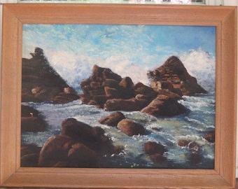 Vintage SEASCAPE Ocean Rocks Waves Mid-Century Pickled OAK Frame c. 1960s