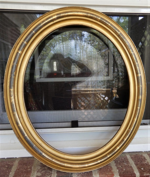 Antique Victorian Oval Lemon Gold Gilt Picture Frame 14 X 17