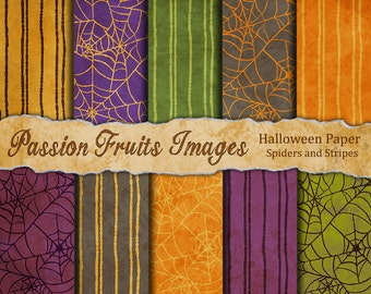 Halloween Spiders and Stripes 10 Piece digital paper pack
