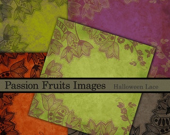 Halloween Lace Digital Papers- 20 design Halloween Paper Pack-- Instant Download