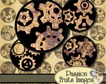 Rusty Gears on Black 1 inch circles Bottlecaps Digital Collage Sheet