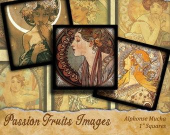 "Alphonse Mucha Art Nouveau digital collage sheet 1"" square inchies---Instant Download"