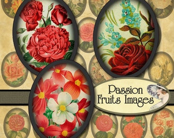 Antique Flowers and Roses 30mm x 40mm Ovals Digital Collage Sheet--Instant Download