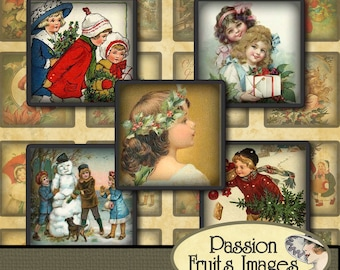 """Victorian Christmas Children Images 1"""" square inchies Digital Collage Sheet"""