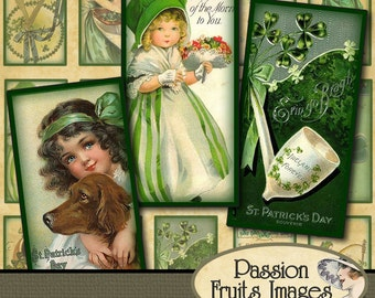 Vintage St Patrick's Day Images 1x2 Inch Domino Tiles Digital Collage Sheet-- Instant Download