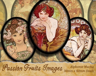 Alphonse Mucha Art Nouveau digital collage sheet 30x40 Ovals---Instant Download
