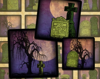 """Haunted Cemetery Halloween Digital Collage Sheet 1"""" Squares Inchies- Instant Download"""
