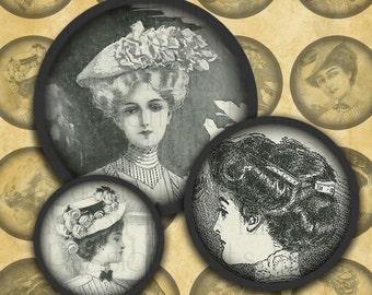 "Victorian Women #2 Steampunk Fashion-- 1"" rounds digital collage sheet--Instant Download"