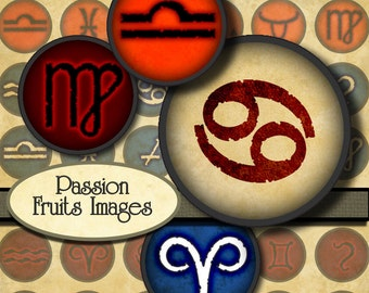 "Astrological Symbols 1"" Circles Digital Collage Sheet no.1--Instant Download"