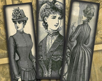 "Victorian Women Steampunk Fashion-- .1"" x 3"" Microscope Slides digital collage sheet #1--Instant Download"