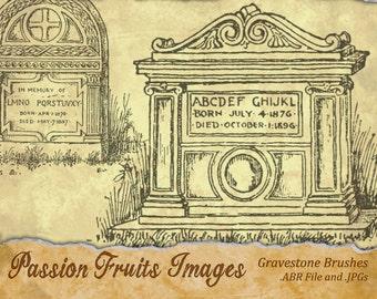 Vintage Gravestones Halloween Image Set- 11 .JPG files and .ABR file