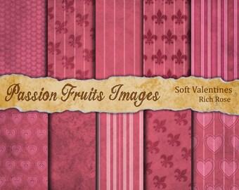 Soft Valentines Digital Paper Pack in Rose Pink--Instant Download