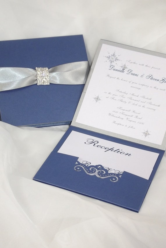 Wedding Invitation Royal Blue And Silver Wedding Invitation Etsy