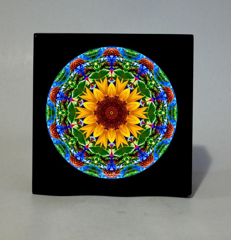KEEPSAKE Box MEMORY Box MUSIC Box Wooden Box Personalized Box Jewelry Box  Sacred Geometry Unique Gifts Zen Mandala Art Boho Chic Sunflower 3