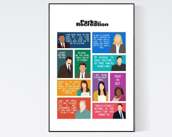 Parks and Recreation tv show characters poster with quotes, parks and rec gifts