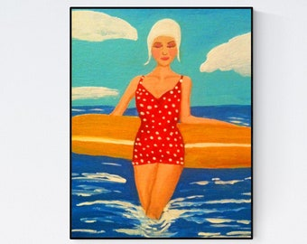 Vintage Swimmer Print of Painting