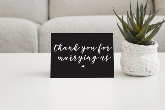 Wedding Officiant Thank You Card Thank You For Marrying Us Wedding Cards