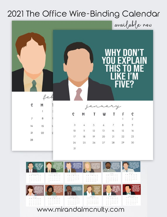 2021 Calendar of The Office characters 2021 planner stocking | Etsy