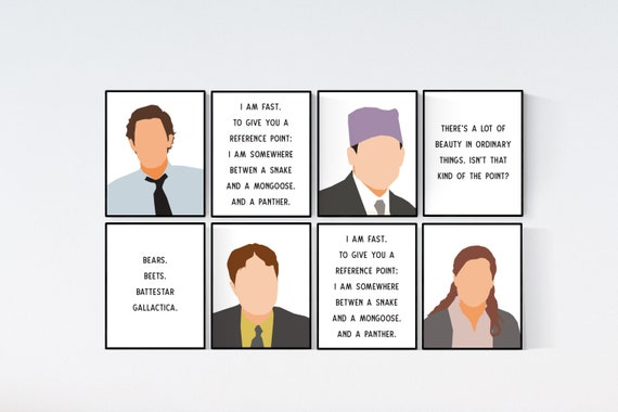 The Office tv show Print Set - Michael Scott, Jim Halpert, Pam Beesley  Dwight Schrute, the office quotes