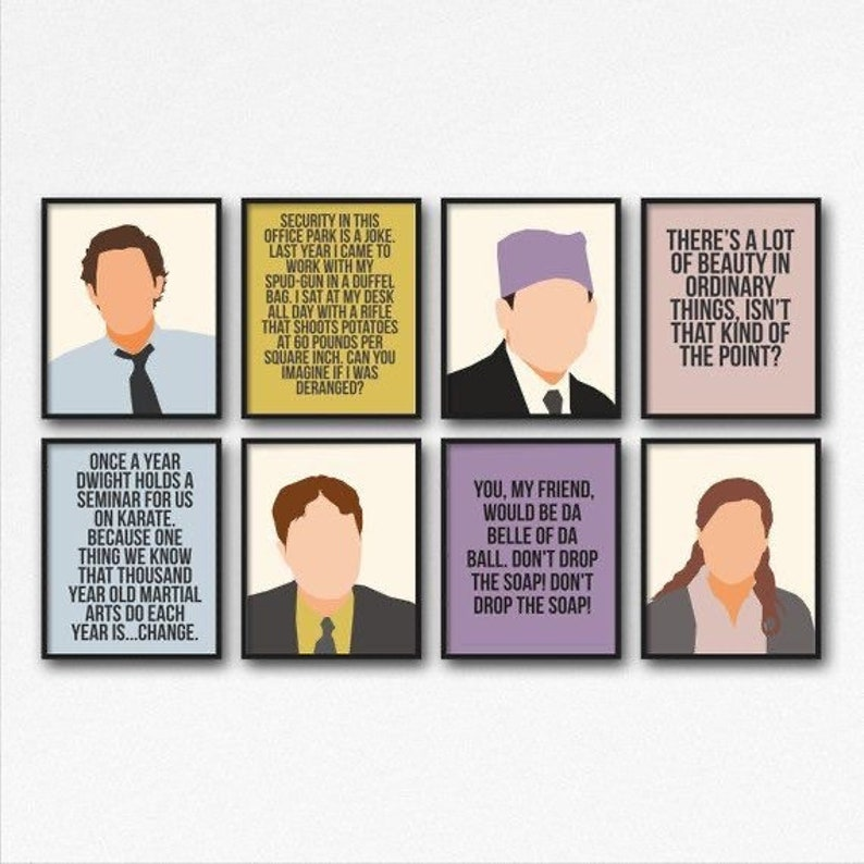 The Office tv show Print Set Michael Scott Jim Halpert Pam image 0