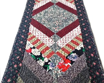 """Quilted Table Runner, Quilted Table Topper, Quilted Table Linen, Quilted Bedrunner – Black, Red, Gray, White – 15-3/4"""" wide x 60-1/2"""" long"""