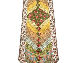 """Quilted Table Runner, Quilted Table Topper, Quilted Table Linen, Quilted Bedrunner – Bright Multi Color – 16"""" wide x 60-1/2"""" long"""