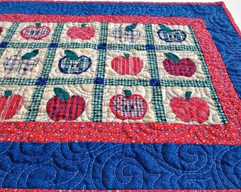 """Handmade Quilted Table Runner, Quilted Table Topper, Quilted Table Linen – Apple Table Runner – 24-1/2 """" long x 13-1/2"""" wide"""