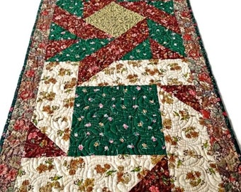 """Quilted Table Runner, Quilted Table Topper, Quilted Table Linen, Handmade Table Runner – Earthtone Multi Color – 18-1/2"""" wide x 49"""" long"""