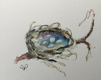 Set of Six Birds Nest Card / Printed from an Original Watercolor