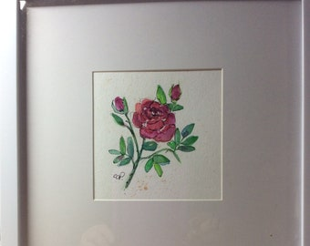 Pink Rose Watercolor Card / Hand Painted Watercolor Card