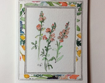 Orange Snapdragons Watercolor Card / Hand Painted Watercolor Card