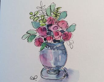 Blue Vase Watercolor Card / Hand Painted Watercolor Card