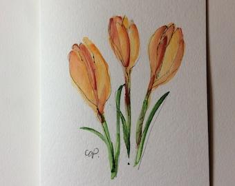 Yellow Crocus Watercolor Card / Hand Painted Watercolor Card