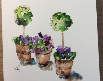 Topiaries and Pots Watercolor Card / Hand Painted Watercolor Card