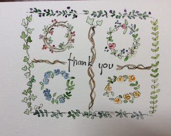 Thank You Card  / Hand Painted Watercolor Card