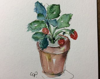 Potted Strawberries Watercolor Card / Hand Painted Watercolor Card